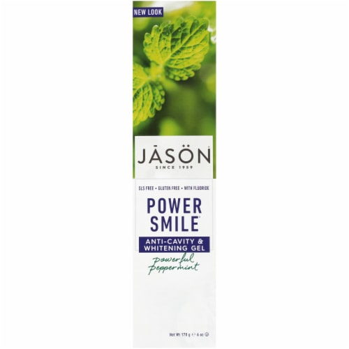 Jason Power Smile Peppermint Anti-Cavity & Whitening Gel Toothpaste Perspective: front