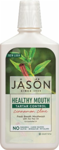 Jason Healthy Mouth Tartar Control Cinnamon Clove Mouthwash Perspective: front