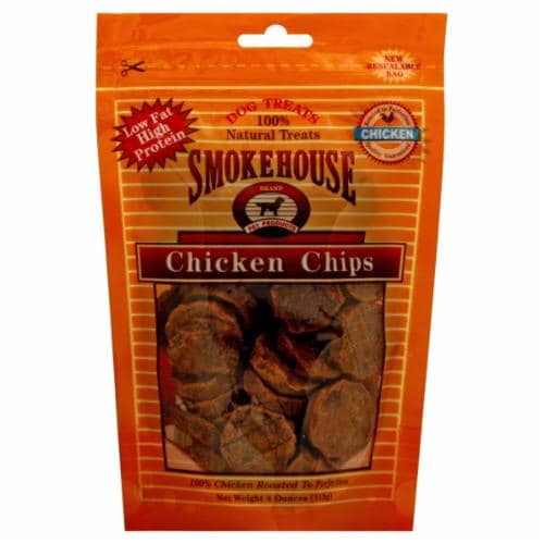 Smokehouse Chicken Chips Dog Treats Perspective: front