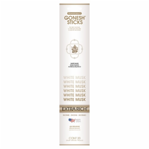 Gonesh® Extra Rich White Musk Incense Sticks Perspective: front