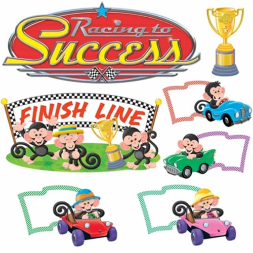 Monkey Mischief® Racing to Success Bulletin Board Set Perspective: front