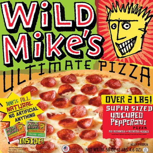 Wild Mike's Ultimate Super Sized Pepperoni Pizza Perspective: front