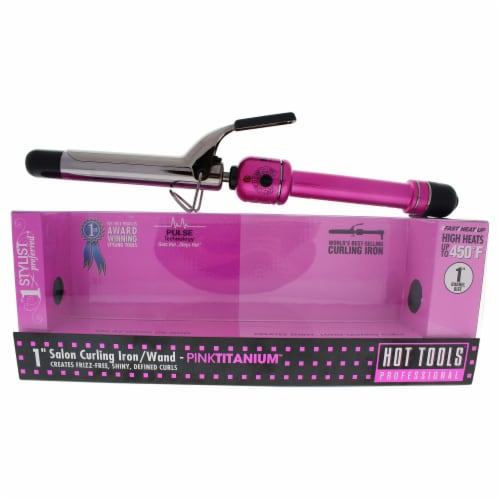 Hot Tools Pink Titanium Salon Curling Iron/Wand  Model # HPK44  Pink/Silver 1 Inch Perspective: front
