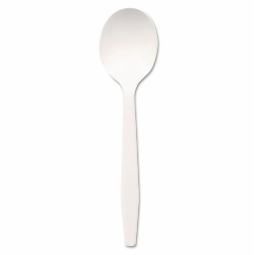 Dixie PSM21 Plastic Tableware  Mediumweight Soup Spoons  White  1 000 per Carton Perspective: front