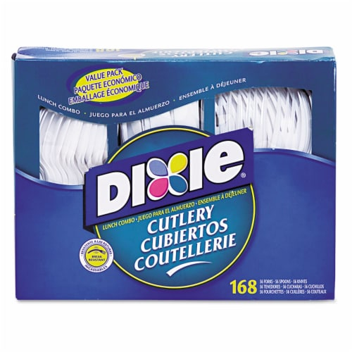 Dixie Ultra CM168CT Tray Plastic Utensils Combo Pack, 56 Forks, 56 Knives, 56 Spoons, White - Perspective: front