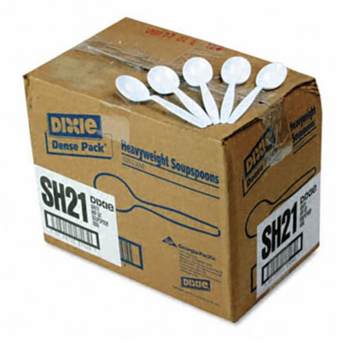 Dixie SH217 Plastic Tableware  Heavyweight Soup Spoons  1000/Carton  White Perspective: front