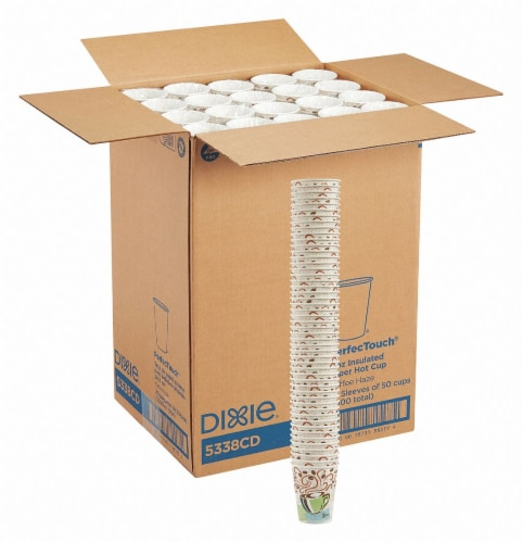 Dixie Disposable Hot Cup,8 oz.,White,PK1000 HAWA 5338CD Perspective: front