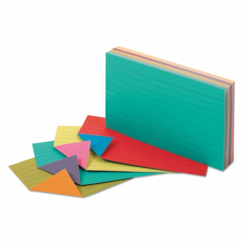 Two-Tone Index Cards, 3  x 5 , Assorted Colors, Pack of 100 Perspective: front