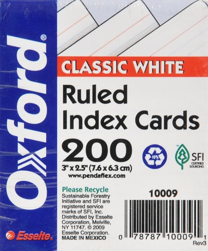 Oxford® Half-Size Ruled Index Cards - 200 Pack - White - 3 x 2.5 Inch Perspective: front