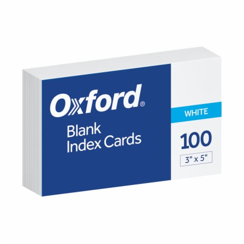 Oxford® Essentials Blank Index Cards - 100 Pack - White Perspective: front