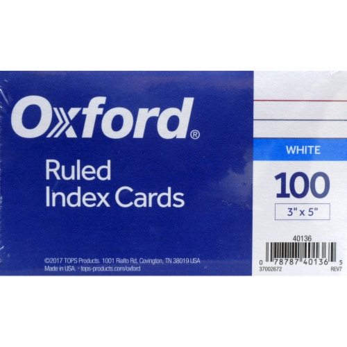 Oxford® Ruled Index Cards - 100 pk - White Perspective: front