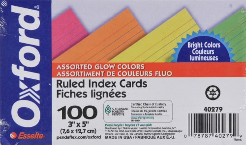 Oxford® Neon 3x5 Index Cards 100 Pack Perspective: front