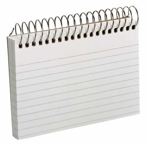 Top Flight Perforated Wire Bound Ruled Index Cards - White Perspective: front