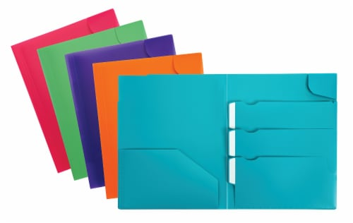 Oxford® Div It Up Poly Portfolios - Assorted Perspective: front