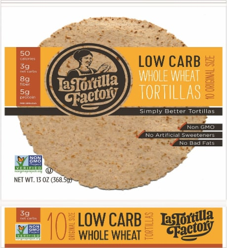 La Tortilla Factory Low Carb Whole Wheat Tortilla Factorys 10 Count Perspective: front