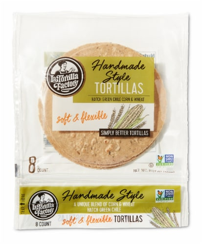 Handmade Style Hatch Green Chile Tortillas Perspective: front