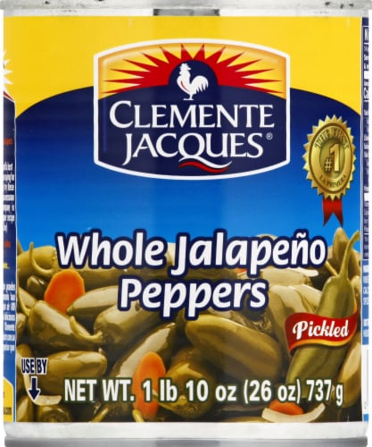 Clemente Jacques Pickled Whole Jalapeno Peppers Perspective: front