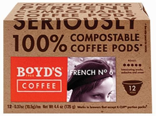 Boyd's Coffee French # 6 Single Serve Cups Perspective: front