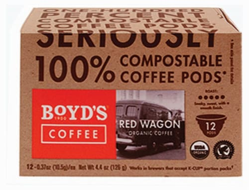 Boyd's Coffee Red Wagon Single Serve Cups Perspective: front