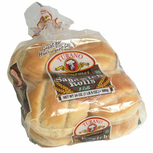 Turano Gourmet Sandwich Rolls 8 Count Perspective: front