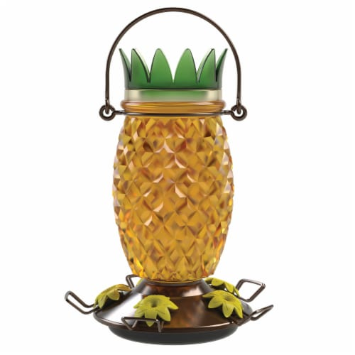 Perky-Pet Glass Pineapple Top Fill Hummingbird Feeder - Yellow Perspective: front