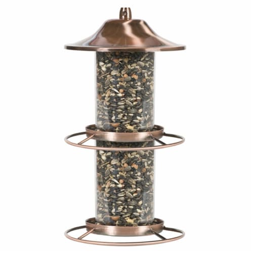 Perky-Pet 8039814 4.5 lbs Wild Bird Copper Panorama Bird Feeder, 2 Ports Perspective: front