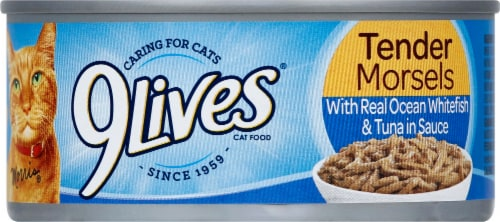9Lives® Tender Morsels with Real Ocean Whitefish & Tuna in Sauce Wet Cat Food Perspective: front