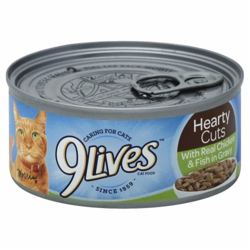 9Lives Hearty Cuts With Real Chicken & Fish Wet Cat Food Perspective: front