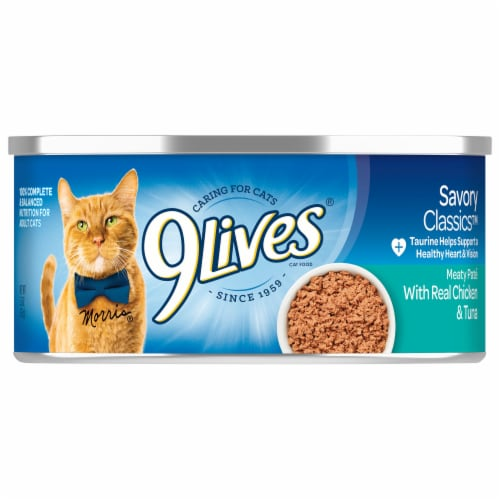 9Lives Chicken & Tuna Dinner Wet Cat Food Perspective: front