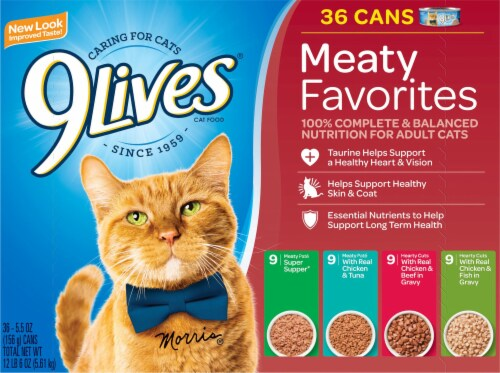 9Lives Meaty Favorites Wet Cat Food Variety Pack 36 Count Perspective: front