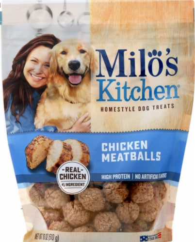 Milo's Kitchen Chicken Meatballs Home-Style Dog Treats Perspective: front