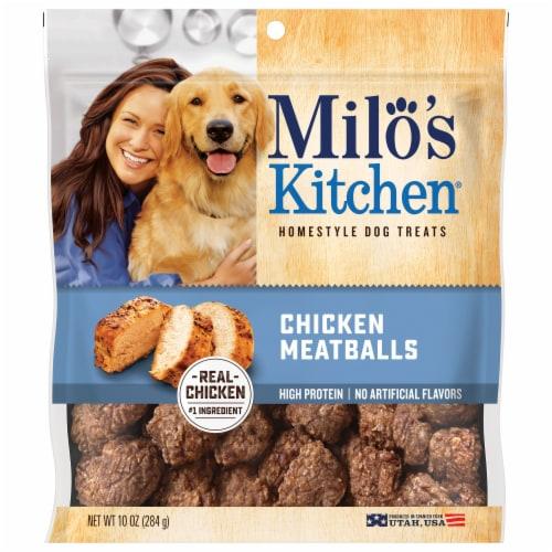 Milo's Kitchen Chicken Meatballs Dog Treats Perspective: front