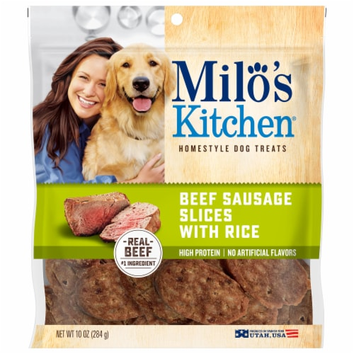 Milo's Kitchen Beef Sausage Slices Dog Treats Perspective: front