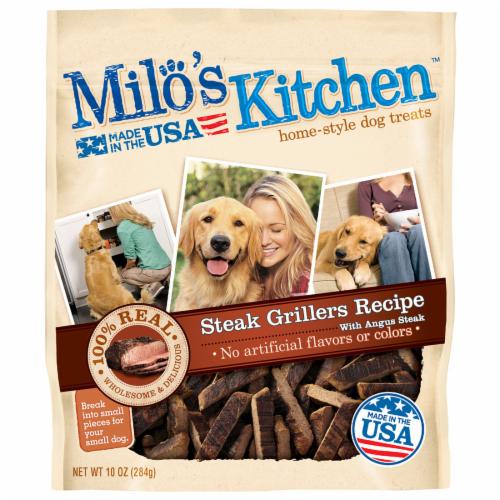 Milo's Kitchen Steak Grillers Dog Treats Perspective: front