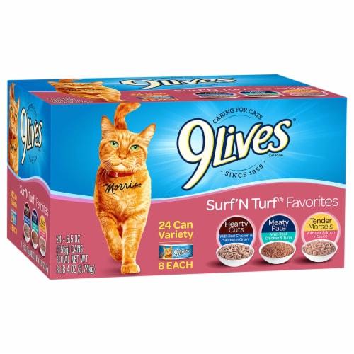 9Lives Surf 'N Turf Favorites Wet Cat Food Variety Pack Perspective: front