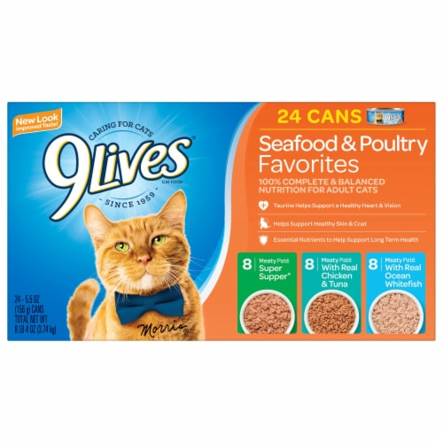 9Lives Seafood & Poultry Moist Cat Food Variety Pack Perspective: front