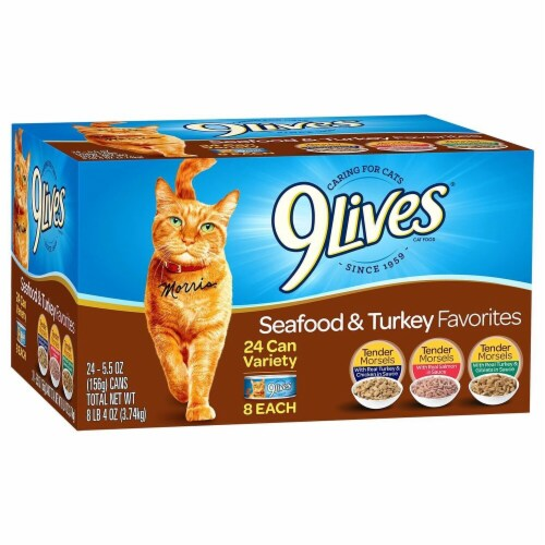 9Lives Seafood & Turkey Favorites Wet Cat Food Variety Pack Perspective: front