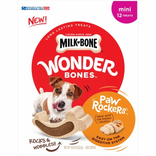Milk-Bone Wonder Bones Chicken Mini Paw Rockers Dog Treats Perspective: front