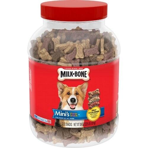 Milk-Bone Mini's Flavor Dog Snacks Case Perspective: front