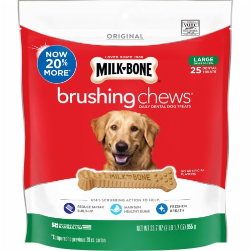 Milk-Bone Brushing Chews Daily Dental Large Dog Treats Perspective: front