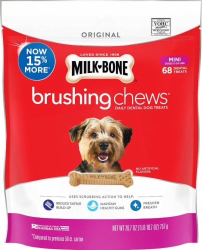 Milk-Bone Brushing Chews Daily Dental Mini Dog Treats Perspective: front
