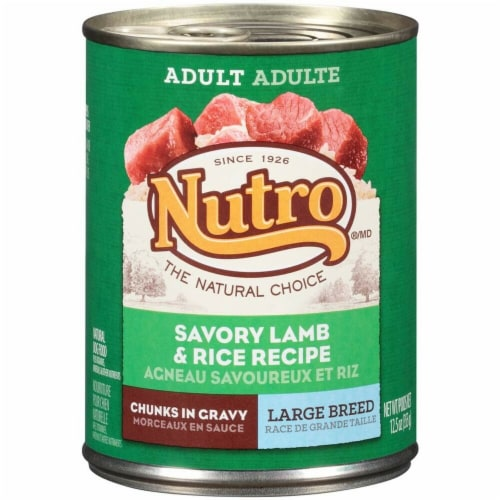 Nutro Products 79105115858 Nutro Savory Lamb & Rice Chunks In Gravy Can Large Breed Dog Food Perspective: front