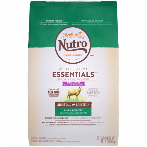 Nutro Wholesome Essentials Small Bites Lamb & Rice Recipe Dry Adult Dog Food Perspective: front