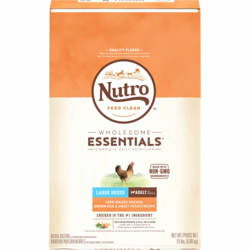 Nutro Wholesome Essentials Chicken Brown Rice & Sweet Potato Large Breed Dry Adult Dog Food Perspective: front