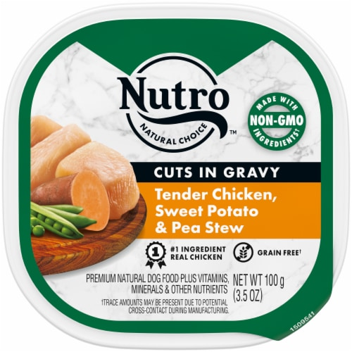 Nutro Grain Free Cuts in Gravy Chicken Sweet Potato & Pea Stew Wet Dog Food Perspective: front