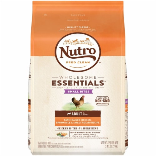 Nutro Wholesome Essentials Small Bites Adult Chicken Brown Rice & Sweet Potato Recipe Dry Dog Food Perspective: front