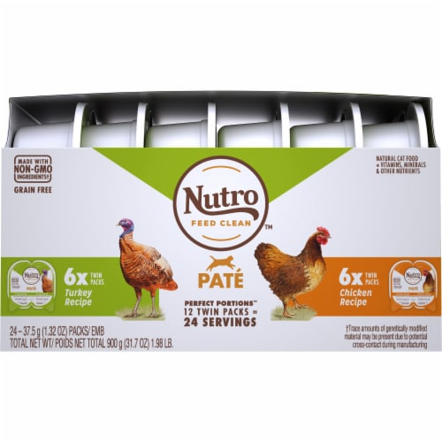 Nutro Grain Free Chicken & Turkey Pate Adult Cat Food Variety Pack Perspective: front