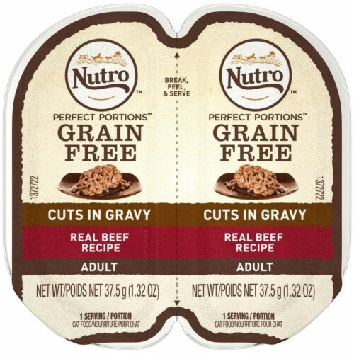 Nutro 79105123112 Perfect Portions Cuts in Gravy Beef Recipe Cat Food, 24ea & 2.65 oz Perspective: front