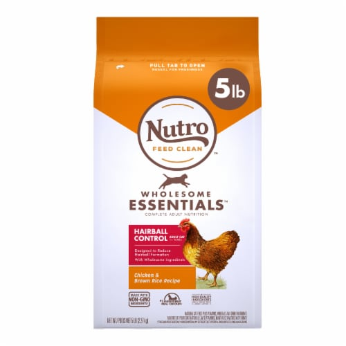 Nutro Wholesome Essentials Hairball Control Chicken & Brown Rice Dry Cat Food Perspective: front