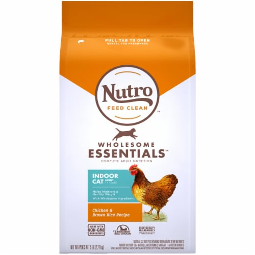 Nutro Wholesome Essentials Chicken & Brown Rice Recipe Dry Indoor Cat Food Perspective: front